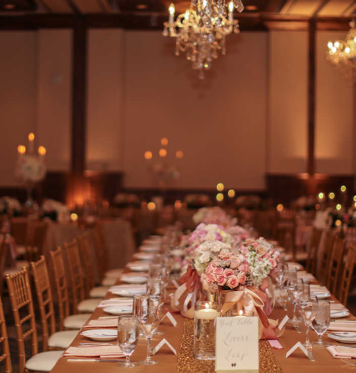 Dining room tables at The Sebastian - Vail wedding venue are set for guests.