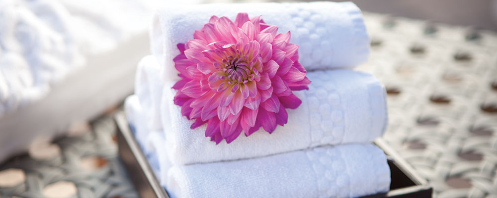 Immaculate towels from the Bloom Spa in Vail are available for spa guests.