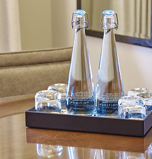 Vivreau Water bottles sit on a table for hotel guests at The Sebastian - Vail.