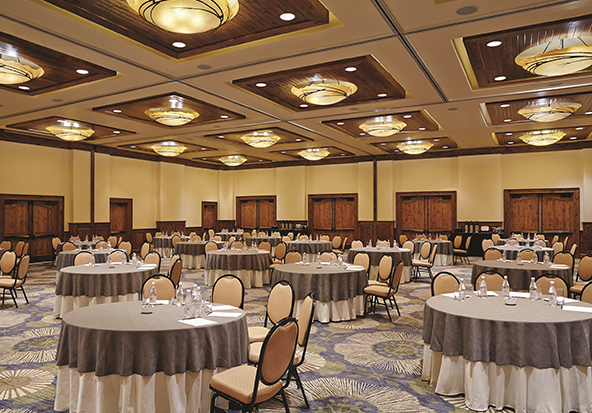 A ballroom space at The Sebastian - Vail sits ready for a special event.