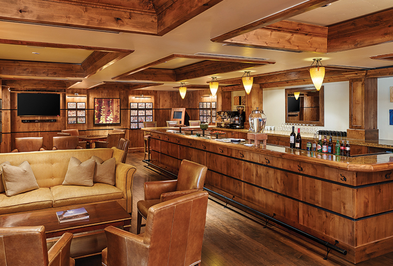 The stunning owner's lounge is a feature of The Sebastian, a boutique hotel in Vail.