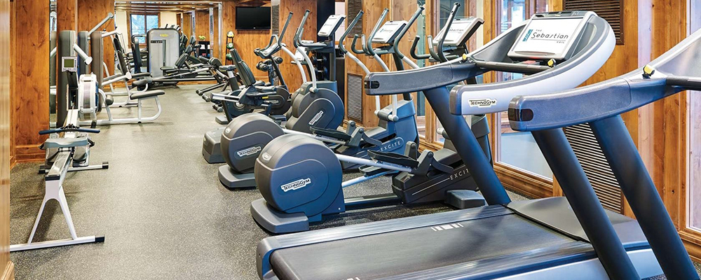 The fitness and wellness center at The Sebastian - Vail is modern and sleek.