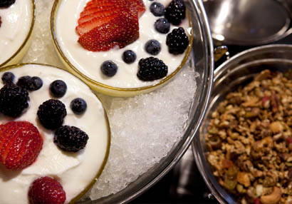 Delicious breakfast parfaits from the banquet menu sit ready for meeting attendees at The Sebastian to enjoy.