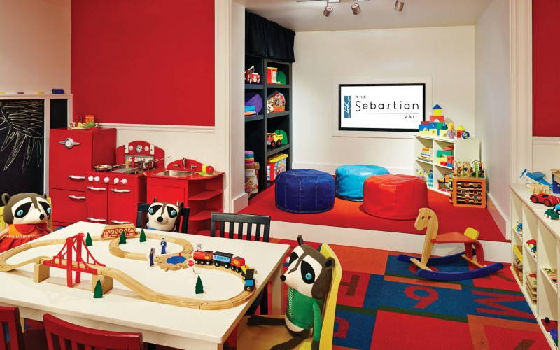The children's play room at The Sebastian Vail family resort is filled with toys and games.