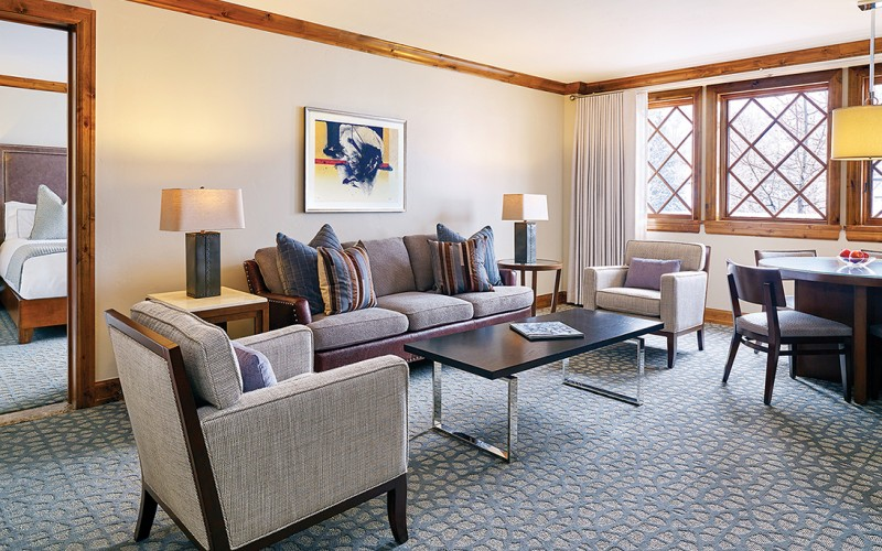 The executive suite living room at The Sebastian Vail hotel in Vail Village.