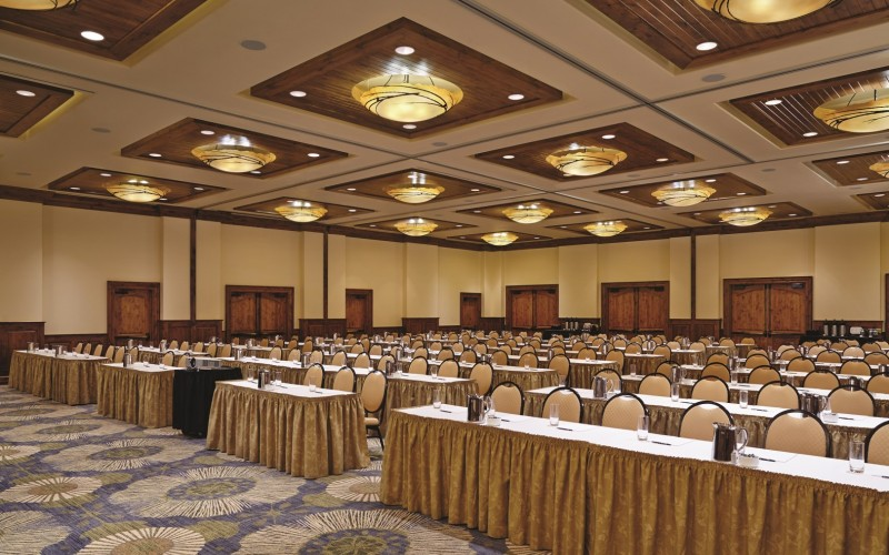 The Sebastian Vail hotel venue is set up classroom style for a Colorado event.