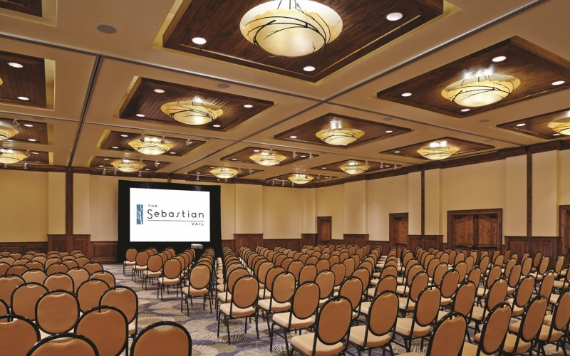 The Ariel Ballroom is set up theater style for a Colorado event or conference.