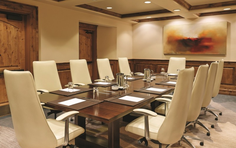 The Magellan Board Room is set up for a conference or meeting at The Sebastian Vail, Colorado.