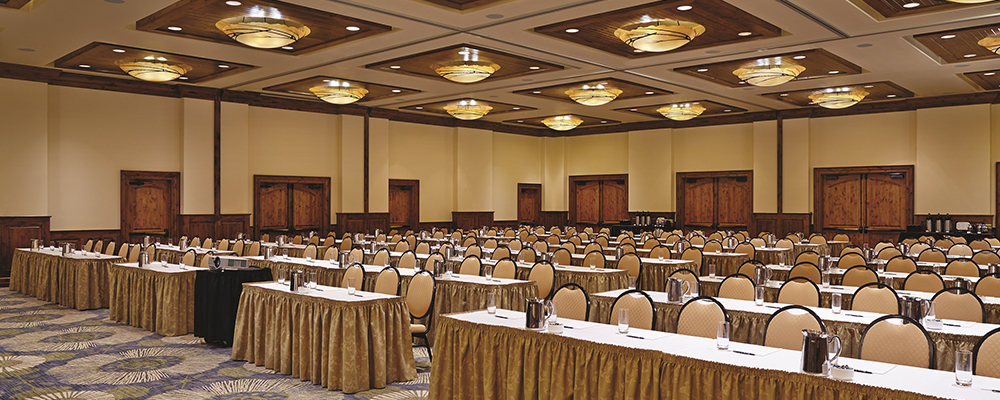 A conference room at The Sebastian - Vail sits ready for a large event.